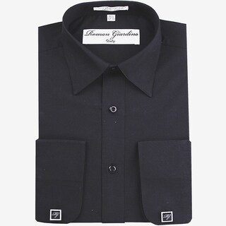 Roman Giardino Men's Dress Shirt Wrinkle-free Convertible Cuff w/Free Cufflinks Black