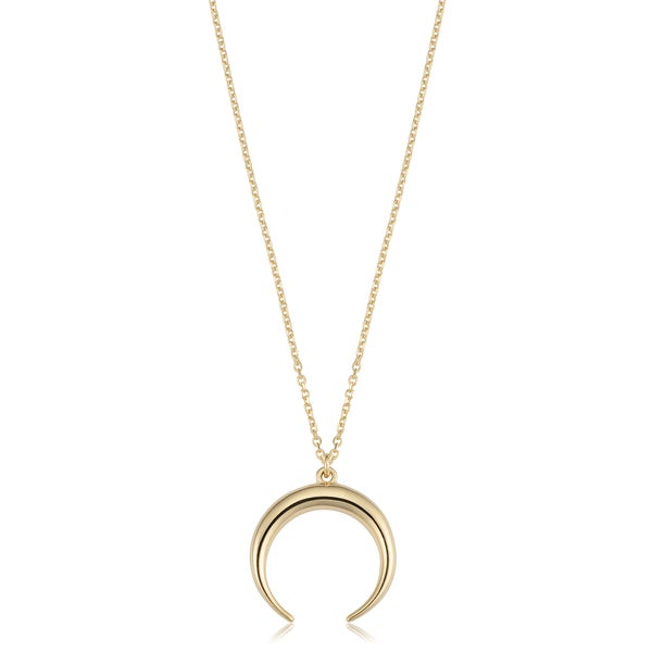 Crescent Moon and Star Necklace 14K Yellow White or Rose Gold