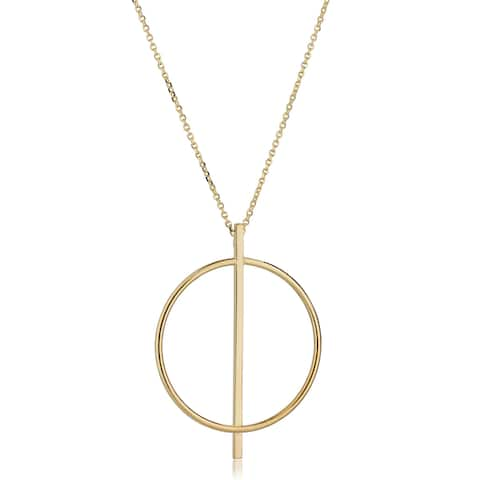 Fremada Italian 14k Yellow Gold Double Circle Bar Necklace (adjusts to 17 or 18 inches)