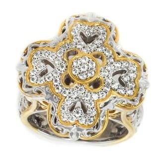 Michael Valitutti Palladium Silver Diamond Cluster Ring - White H-I
