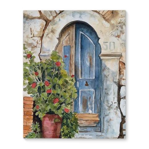 Kavka Designs Stone Door Blue/Green/Grey Canvas Art