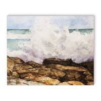 Kavka Designs Wave Break Brown/Aqua Canvas Art