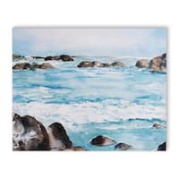 Kavka Designs Rocky Waves Blue/Brown Canvas Art