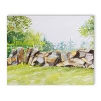 Kavka Designs Rock Wall Green/Grey/Brown Canvas Art