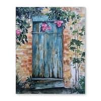 Kavka Designs Wood Door Turquoise/Pink/Brown Canvas Art