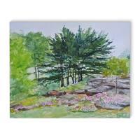 Kavka Designs Botanical garden NYC Green/Blue/Purple/Pink Canvas Art