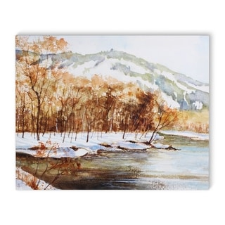 Kavka Designs Fall Lake Brown/Grey Canvas Art