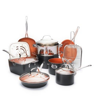 Gotham Steel Ultimate 15 Piece All in One Copper Cookware Set with Non-Stick Ti-Cerama Coating