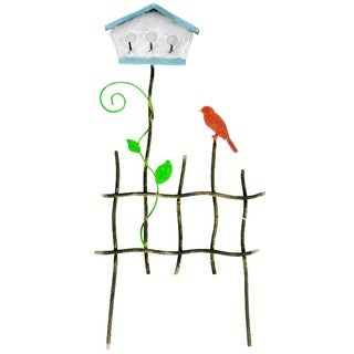 Fairy Garden Iron Fence W/Birdhouse