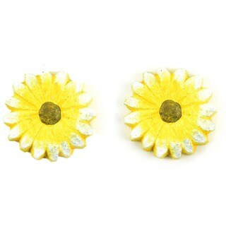 Fairy Garden Yellow Flower Stepping Stones 2/Pkg