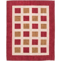 eCarpetGallery Luribaft Gabbeh Riz Ivory/Red Wool Hand-knotted Geometric Area Rug - 4'7 x 6'7