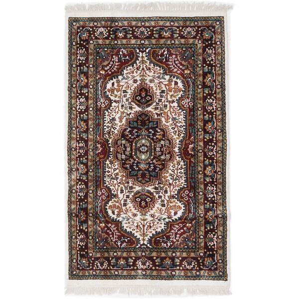 eCarpetGallery Kashmir Blue Silk/Cotton Hand-knotted Rug (2'11 x 5'0)