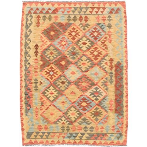 eCarpetGallery Kashkoli Red/Yellow Wool Flatweave Kilim Rug - 5' x 6'10