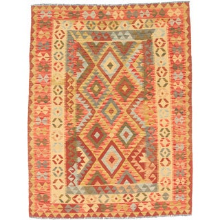 eCarpetGallery Red/Yellow Wool Flatweave Anatolian Kilim Rug (5'0 x 6'6)