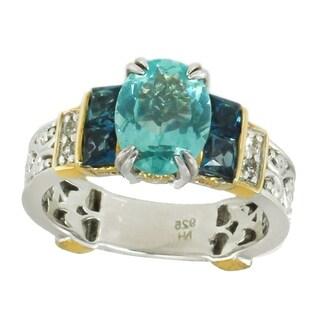 Michael Valitutti Palladium Silver Neon Apatite, London Blue Topaz & White Sapphire Band Ring