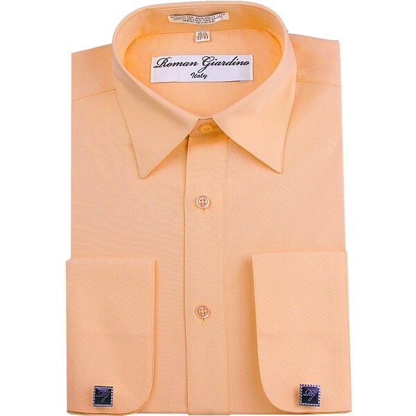 Roman Giardino Mens Dress Shirt Wrinkle-free Convertible Cuff w/Free Cufflinks Blossom