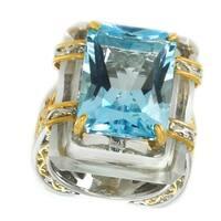 Michael Valitutti Palladium Silver Donut Rock Crystal & Sky Blue Topaz Rectangle Ring