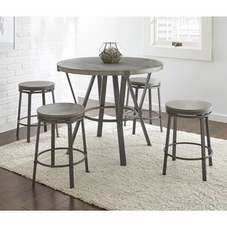 Perry Grey Finish Iron and Veneer 5-piece Round Industrial Style Dining Set  by Greyson Living