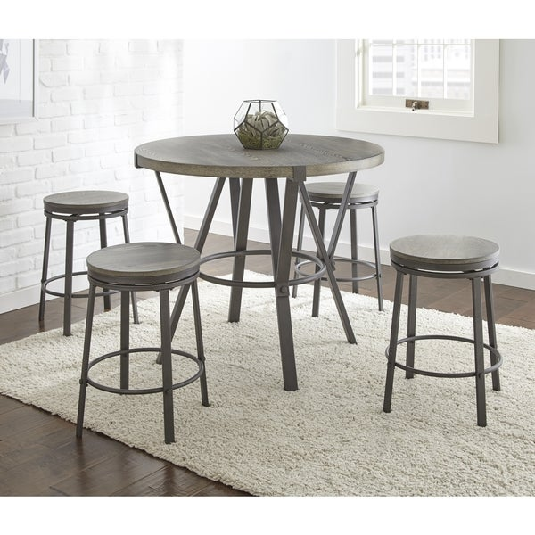 Shop Perry Grey Finish Iron and Veneer 5-piece Round Industrial Style Dining Set by Greyson ...