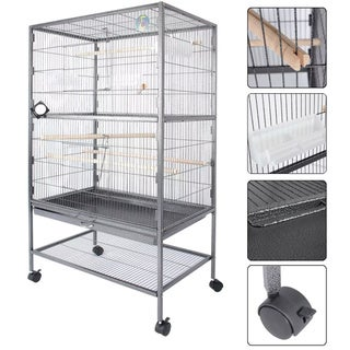 Fur Family Grey Large Bird Cage with Play Top, Parrot Cage, and Door Tray
