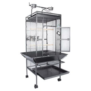 Fur Family Grey Metal Deluxe Large Bird Cage