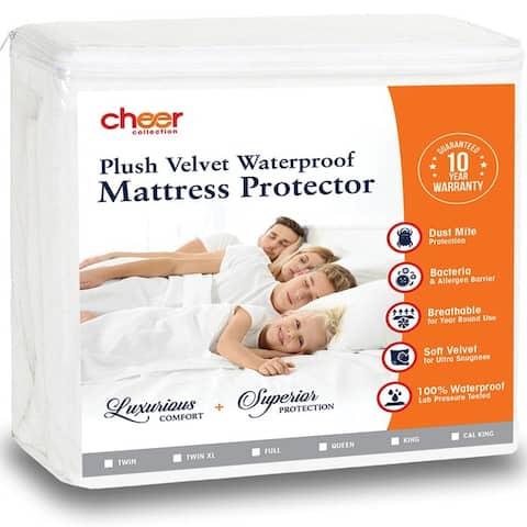 Cheer Collection Velvet Plush Waterproof Mattress Protector