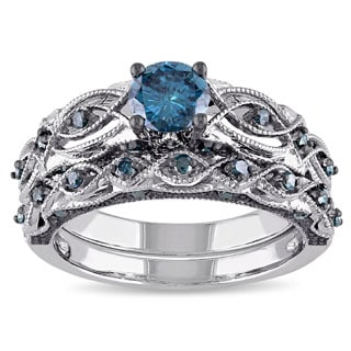 10k White Gold with Black Rhodium 1ct TDW Blue Diamond Infinity Bridal Ring Setby The Miadora Signature Collection