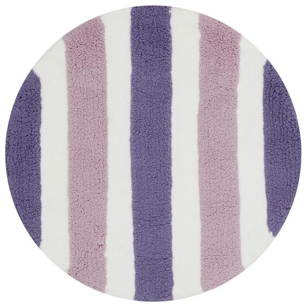 Hand-tufted Riley Plum/ Lilac Striped Shag Rug (3' x 3' Round) - 3' x 3' Round