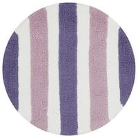 Hand-tufted Riley Plum/ Lilac Striped Shag Rug (3' x 3' Round) - 3' x 3'