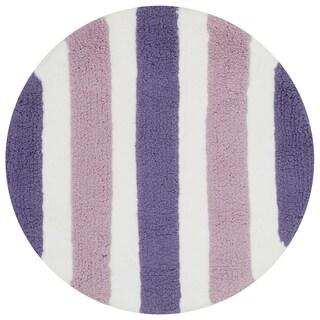 Hand-tufted Riley Plum/ Lilac Striped Shag Rug (3' x 3' Round)