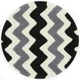 Hand-tufted Riley Black/ Charcoal Chevron Shag Rug (3'0 x 3'0 Round)