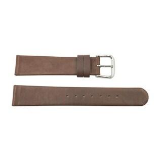20mm Dark Brown Genuine Leather Smooth Flat Watch Band