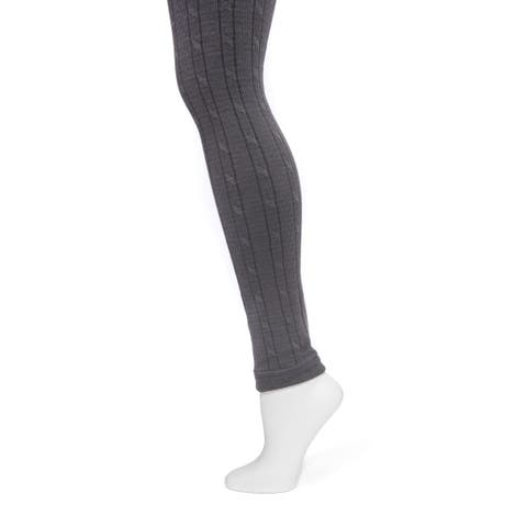 MUK LUKS Women's Charcoal Cable Knit Leggings