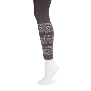 MUK LUKS Women's Dark Brown Fairisle Pattern Leggings