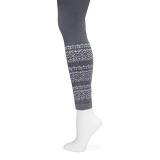 MUK LUKS Women's Charcoal Fairisle Pattern Leggings