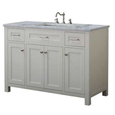 Home Elements VF48433 White Carrara Marble 48-Inch Cream White Vanity