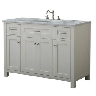 Home Elements VF48433 White Carrara Marble 48-Inch Cream White Vanity
