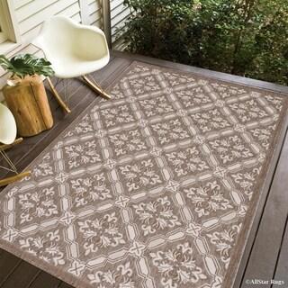 Allstar Mocha/Ivory Indoor/Outdoor Floral Design Rug - 7'10 x 10'2