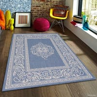 "Allstar Blue/ Ivory Indoor Outdoor With Floral Design Rug - 7' 10"" X 10' 2"""