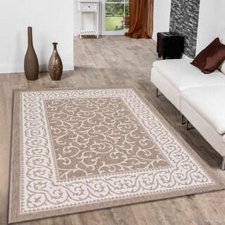 Allstar Floral Scroll Design Mocha/ Ivory Indoor/ Outdoor Rug (7'10 x 10'2)