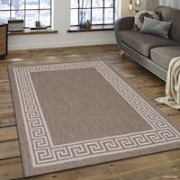 "Allstar Mocha/ Ivory Indoor Outdoor Solid Greek Key Rug (7' 10"" X 10' 2"")"