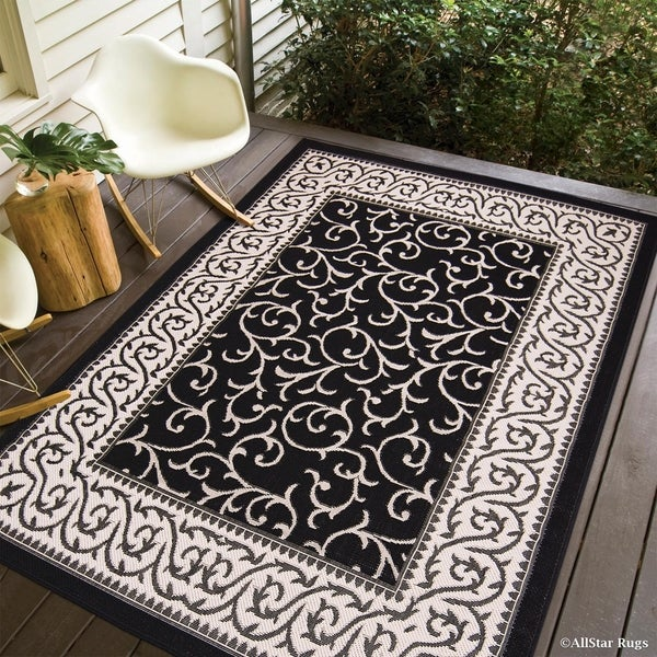 Shop Allstar Black Ivory Indoor Outdoor Floral Scroll