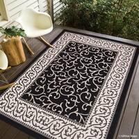 Allstar Black/ Ivory Indoor Outdoor Floral Scroll Design Rug