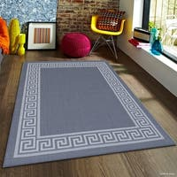 "Allstar Grey/ Ivory Indoor Outdoor Solid Greek Key Rug - 7' 10"" X 10' 2"""