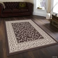 "Allstar Chocolate/ Brown Indoor Outdoor Floral Scroll Rug (7' 10"" X 10' 2"")"