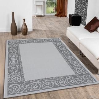 "Allstar Grey/ Ivory Indoor Outdoor Paisley Floral Rug (7' 10"" X 10' 2"")"