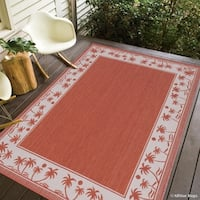 "Allstar Terracotta/ Ivory Indoor Outdoor With Palm Trees Rug (7' 10"" X 10' 2"")"