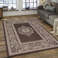 "Allstar Chocolate/ Ivory Indoor Outdoor With Floral Rug (7' 10"" X 10' 2"")"