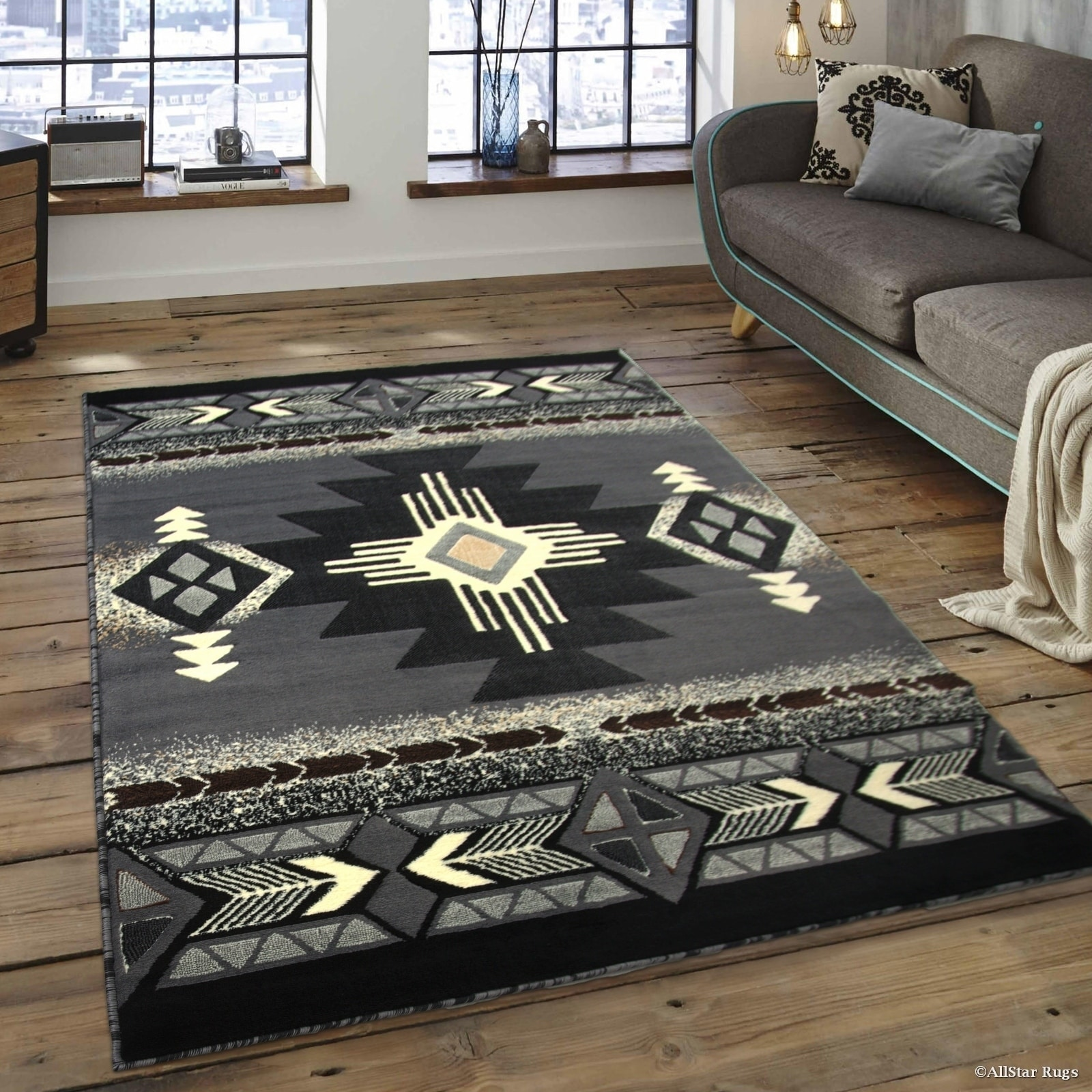 "Allstar Grey/ Black Woven Native American Rug (7' 10"" X 1..."