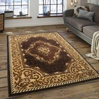 "Allstar Chocolate/ Berber Woven Floral Printed Rug (7' 10"" X 10' 2"")"